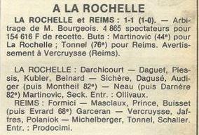 1978 CDF 16ème finale Aller LA ROCHELLE REIMS 1-1, le 10/03/1979