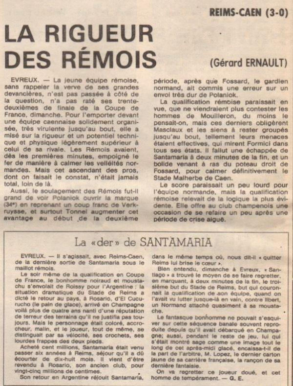 1978 CDF 32ème finale REIMS CAEN 3-0, le 11/02/1979