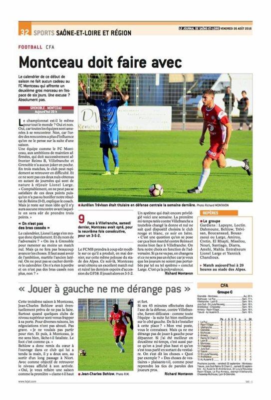 2016 CFA J03 GRENOBLE MONTCEAU 1-0, le 27/08/2016