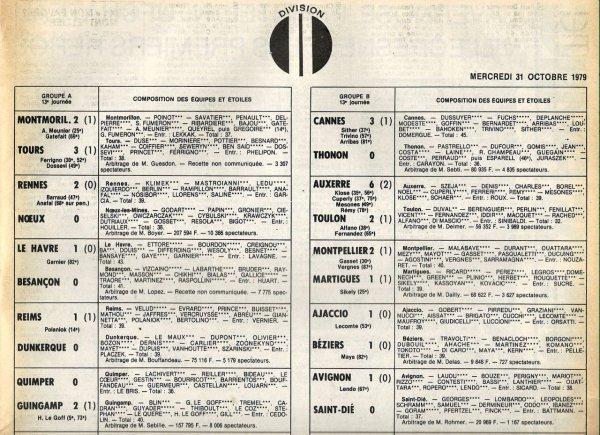 1979 D2A J13 REIMS DUNKERQUE 1-0, le 31/10/1979