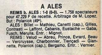 1979 CDF 16ème finale Aller ALES REIMS 0-1, le 09/03/1980