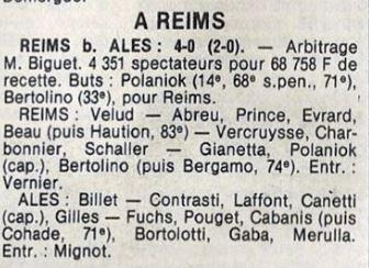 1979 CDF 16ème finale Retour REIMS ALES 4-0 , le 15/03/1980