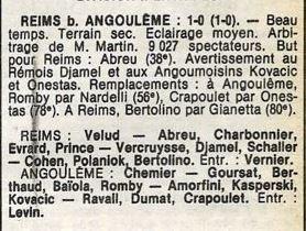 1979 CDF 8ème finale Retour REIMS ANGOULÊME 1-0, le 15/04/1980