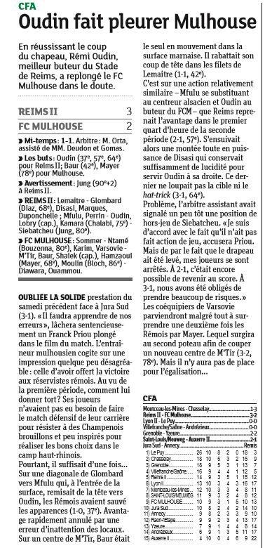 2016 CFA J10 REIMS MULHOUSE 3-2, le 05/11/2016