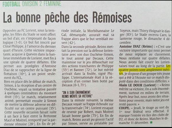 2016 D2 Féminines J10 LORIENT REIMS 0-1, le 20/11/2016