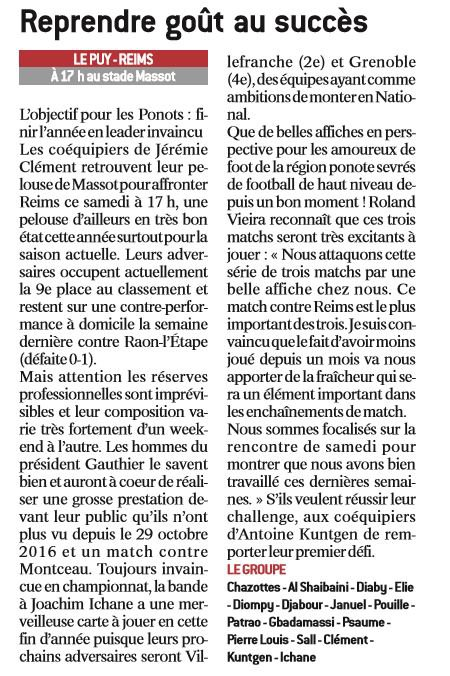 2016 CFA J13 LE PUY REIMS, l'avant match, le 10/12/2016