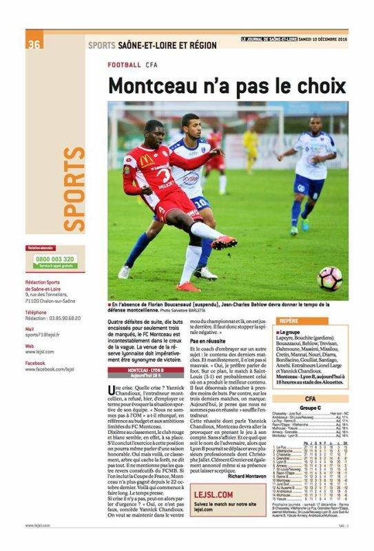 2016 CFA J13 MONTCEAU LYON 1-1, le 10/12/2016