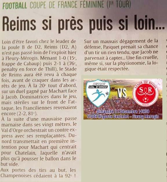 2016 CDFT1 Féminines : VAL d' ORGE REIMS  3-2, le 11/12/2016
