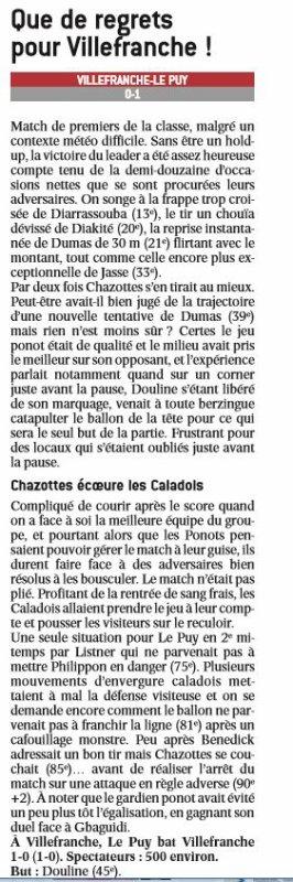 2016 CFA J14 VILLEFRANCHE LE PUY 0-1, le 18/12/2016