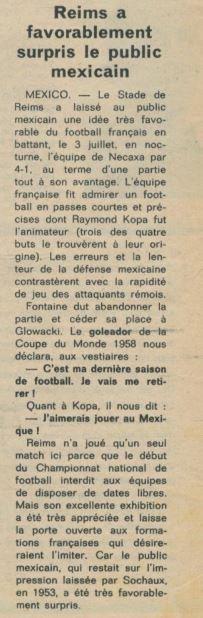 1961 AMICAL NECAXA ( mexique ) REIMS 1-4, le 03/07/1962