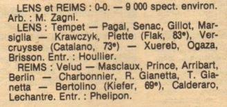 1983 CDF 16ème Finale retour, LENS REIMS 0-0, le 22/02/1984