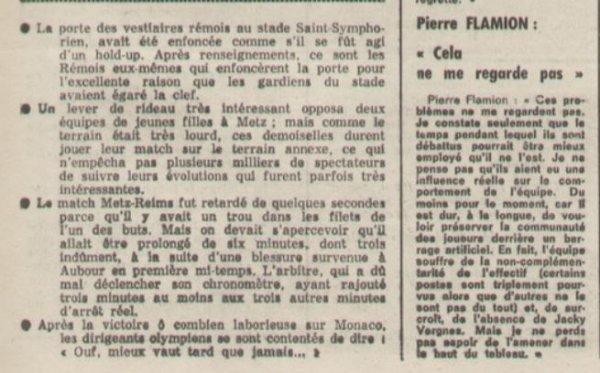 1975 REIMS : Divergence MAIRIE / CLUB , le 06/12/1975