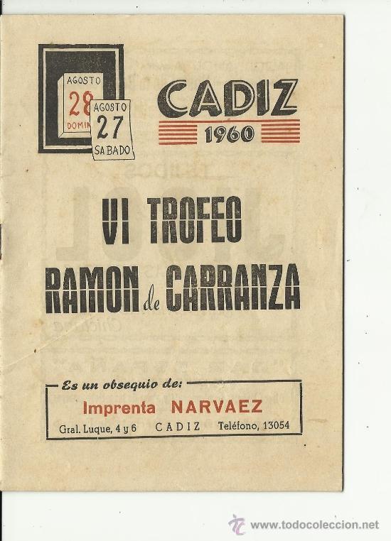 1960 Amical : TROFEO RAMON de CARRANZA, le 27/08/1960