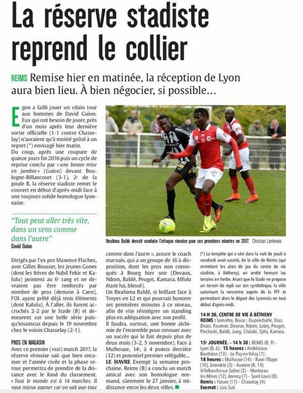 2016 CFA J16 REIMS LYON , l'avant match, le 14/01/2017