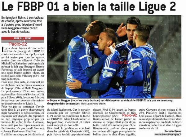 2016 Ligue 2 J20 BOURG en BRESSE REIMS 1-0, le 13/01/2017