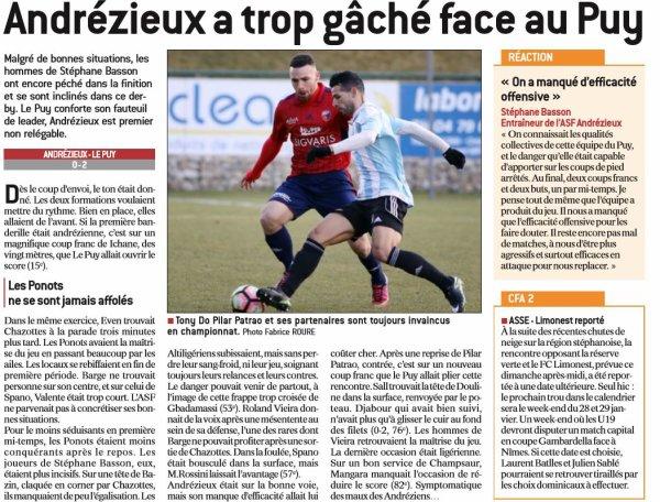2016 CFA J16 ANDREZIEUX LE PUY 0-2, le 14/01/2017
