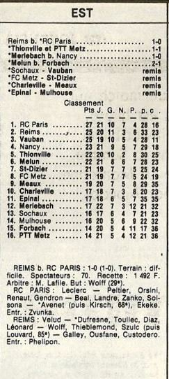 1985 D3 J22 RC PARIS REIMS 0-1 , le 08/03/1986