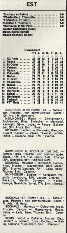 1953 D3 J20 ( joué après J24) SOCHAUX REIMS 0-0, le 29/03/1986
