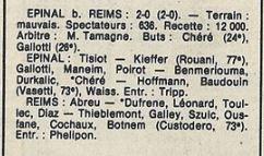 1985 D3 J18 ( joué après J25 ) EPINAL REIMS 2-0, le 09/04/1986