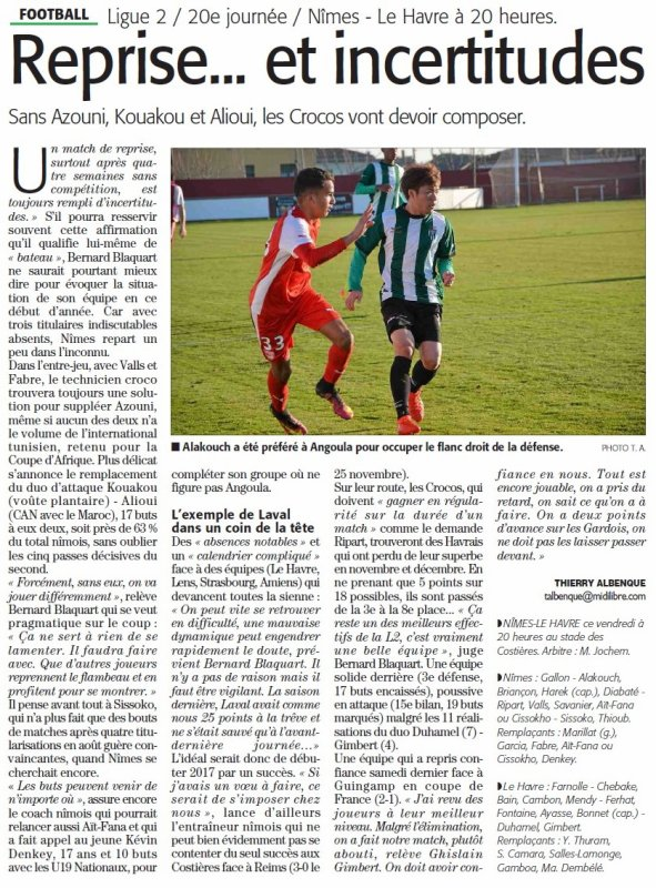 2016 Ligue 2 J20 NÎMES LE HAVRE 0-0, le 13/01/2017