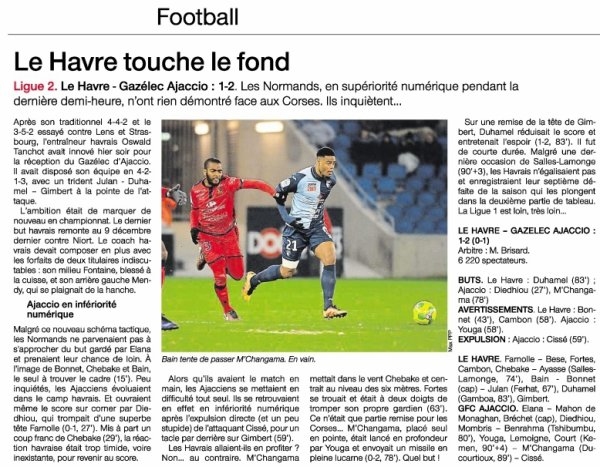 2016 Ligue 2 J21 LE HAVRE GAZELEC 1-2, le 20/01/2017