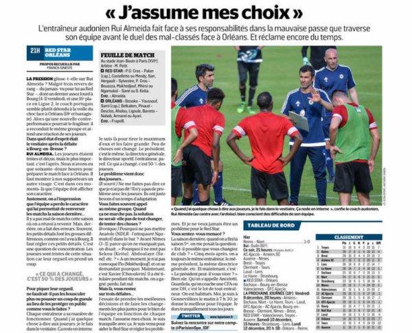 2016 Ligue 2 J17 RED STAR ORLEANS 1-0, le 28/11/2016