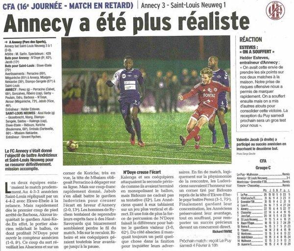 2016 CFA J16 ANNECY SAINT LOUIS 3-1, le 28/01/2017