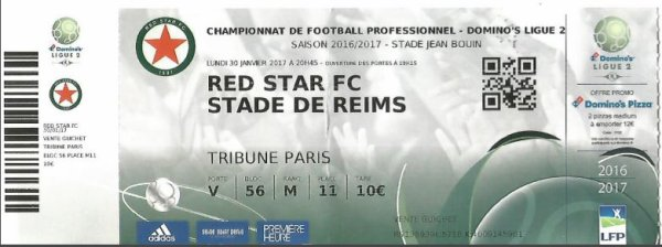 2016 Ligue 2 J22 RED STAR REIMS 0-1, le live, le 30/01/2017