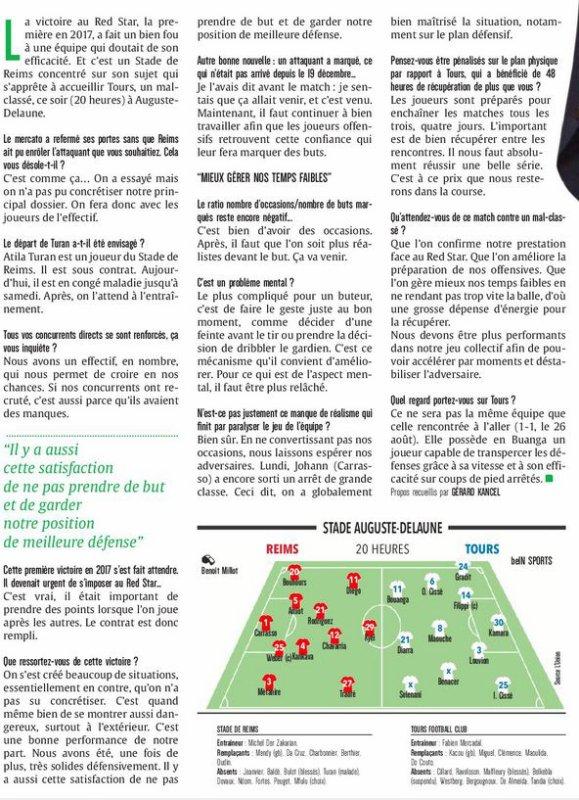 2016 Ligue 2 J23 REIMS TOURS, L'avant match, le 03/02/2017