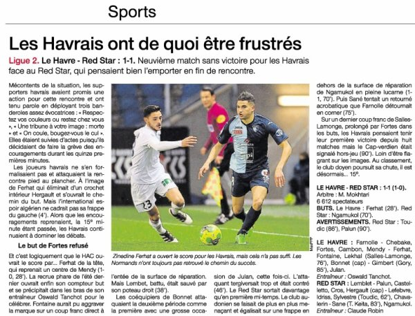 2016 Ligue 2 J23 LE HAVRE RED STAR 1-1, le 03/02/2017