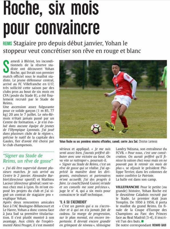 2016 CFA J18 : Un BON DEBUT pour ROCHE, le 07/02/2017