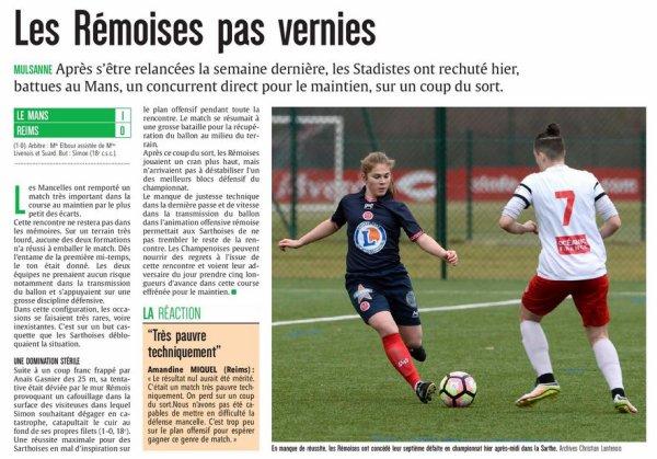 2016 D2 Féminines J14 LE MANS REIMS 1-0, le 12/02/2017