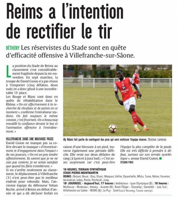 2016 CFA J20 VILLEFRANCHE REIMS , l'avant match, le 18/12/2017