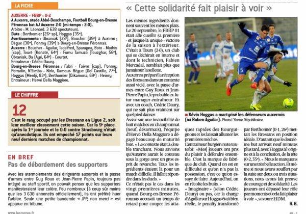 2016 Ligue 2 J21 AUXERRE BOURG EN BRESSE 0-2, le 20/01/2017