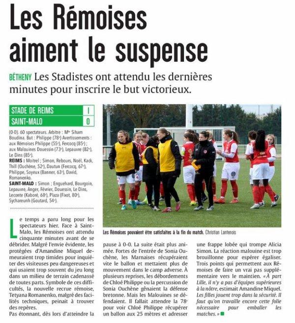 2016 D2 Féminines J15 REIMS SAINT MALO 1-0 , le 26/02/2017
