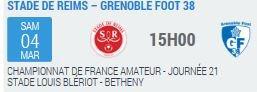 2016 CFA J21 REIMS GRENOBLE, l'avant match, le 04/03/2017