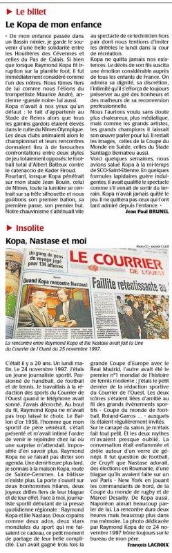 2017  DECES de KOPA, Dossier COURRIER de L' OUEST 3/4 , le 03/03/2017