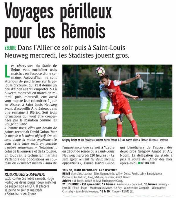 2016 CFA J22 YZEURE REIMS, l'avant match , le 11/03/2017
