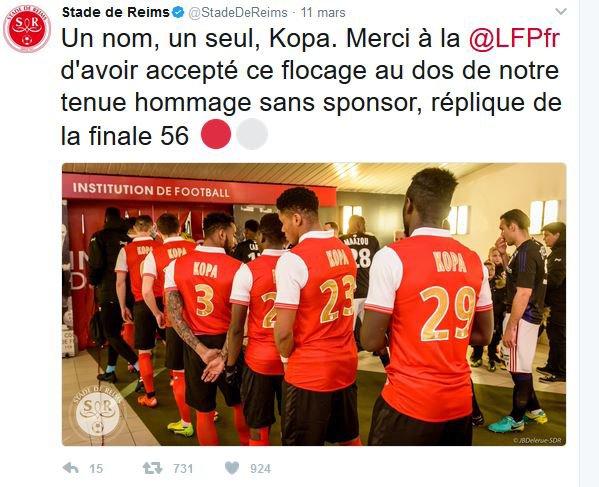 2016 Ligue 2 J29 REIMS AJACCIO 3-0 : l'hommage à KOPA,  le 10/03/2017