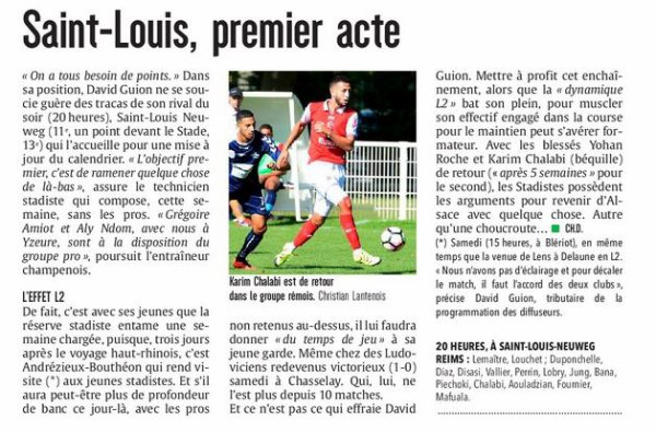 2016 CFA J19 (joué après J22) SAINT LOUIS REIMS, l'avant match, le 15/03/2017