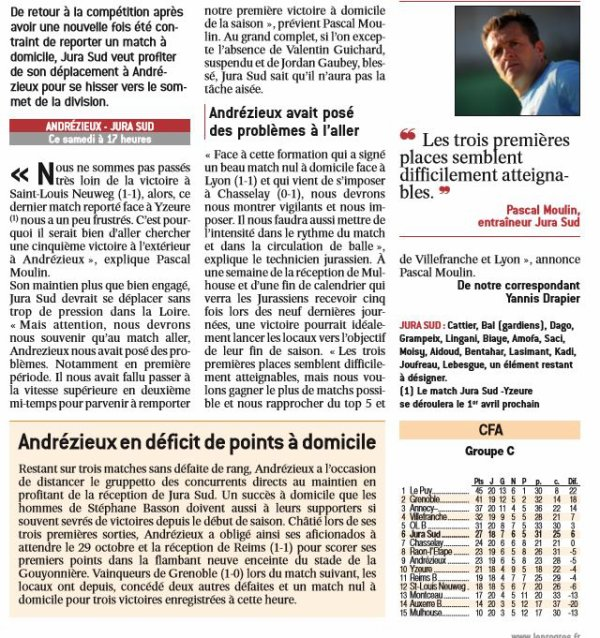 2016 CFA J22 ANDREZIEUX JUA SUD 3-1, le 11/03/2017