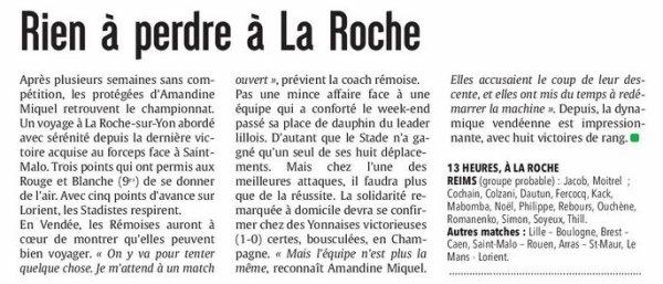 2016 D2 Féminines J16 La ROCHE sur YON REIMS 3-3, le 19/03/2017