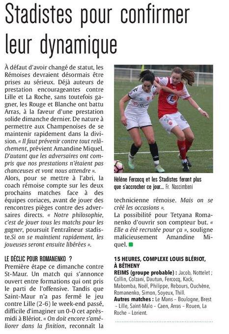 2016 D2 Féminines J18  REIMS SAINT MAUR 2-0, le 02/04/2017