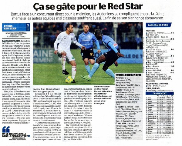 2016 Ligue 2 J31 TOURS RED STAR 3-1, le 31/03/2017