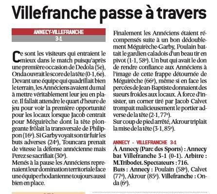2016 CFA J26 ANNECY VILLEFRANCHE 3-1, le 15/04/2017