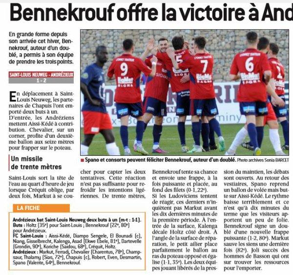 2016 CFA J27 SAINT LOUIS ANDREZIEUX 1-2, le 22/04/2017