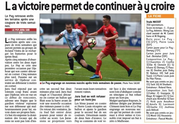2016 CFA J26 LE PUY JURA SUD 2-0, le 15/04/2017