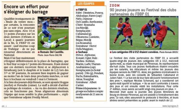 2016 Ligue 2 J35 BOURG en BRESSE SOCHAUX 0-1, le 28/04/2017