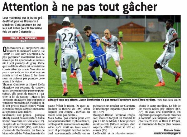 2016 Ligue 2 J33 BOURG en BRESSE VALENCIENNES 0-2, le 14/04/2017