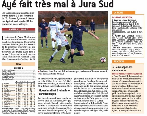 2016 CFA J28 AUXERRE JURA SUD 3-0, le 29/04/2017